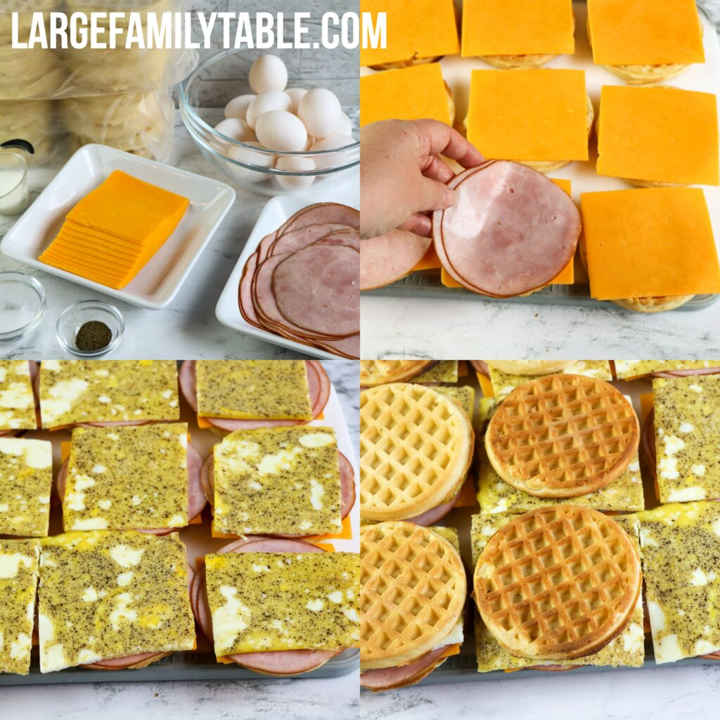 Large Family Ham, Egg, and Cheese Waffle Sandwiches for the Freezer | Big Family Freezer Meals