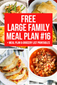 Large Family Weekly Meal Plan #16 | Meals on a Budget and FREE Grocery List