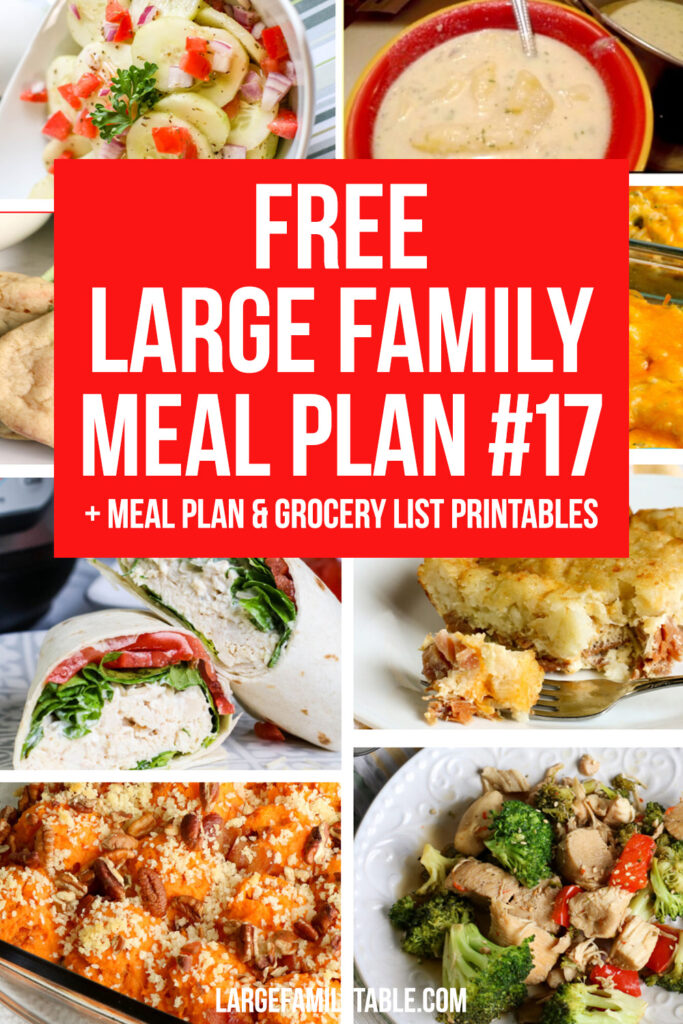Week 17 Large Family Weekly Meal Plan + FREE Grocery List Printables for a Large Family on a Budget