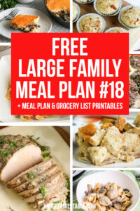 Large Family Meal Plan Week 18 | Meals on a Budget + Free Grocery List Printables
