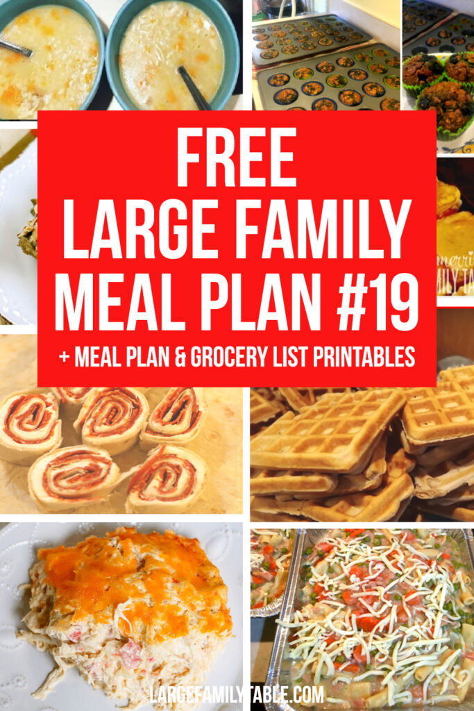 Week 19 Meal Plan for a Large Family on a Budget + FREE Grocery List and Planning Pack