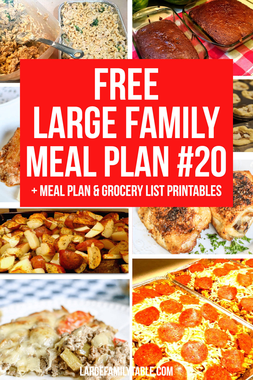 Large Family Meal Plan Week 20 + FREE Grocery List Printables   Meals on a Budget