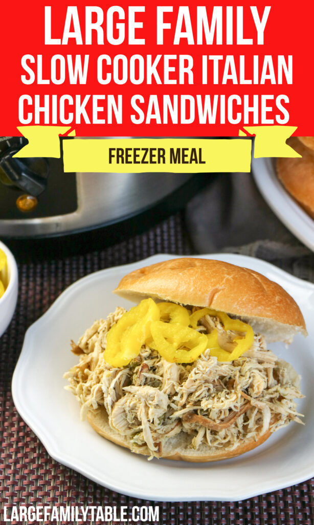 Large Family Slow Cooker Italian Chicken Sandwiches   Crock Pot Freezer Meals! Dairy-Free