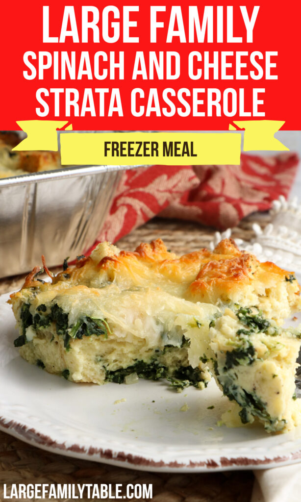 Large Family Spinach and Cheese Strata   Breakfast Freezer Meal Casserole Recipe