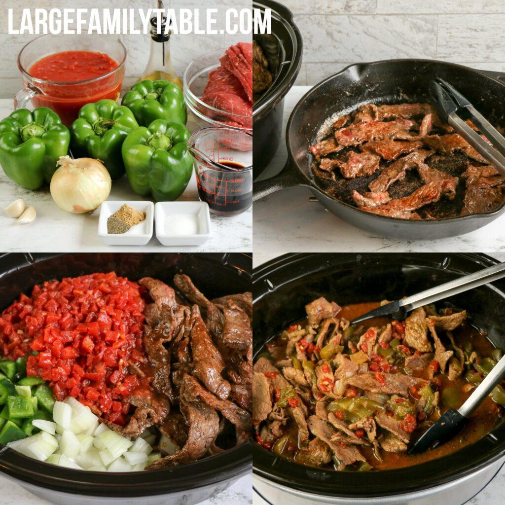 Large Family Pepper Steak Slow Cooker Freezer Meal!
