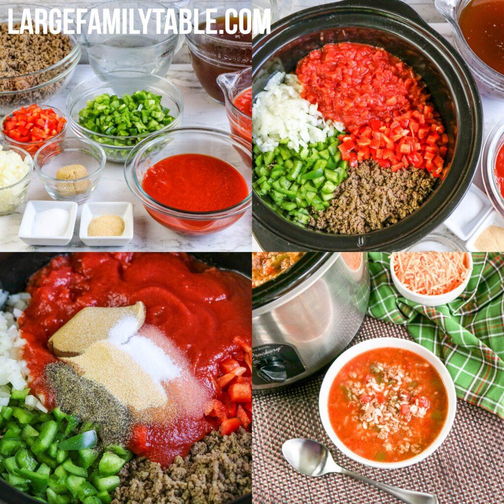 Slow Cooker Stuffed Pepper Stew | Large Family Crock Pot Freezer Meals!
