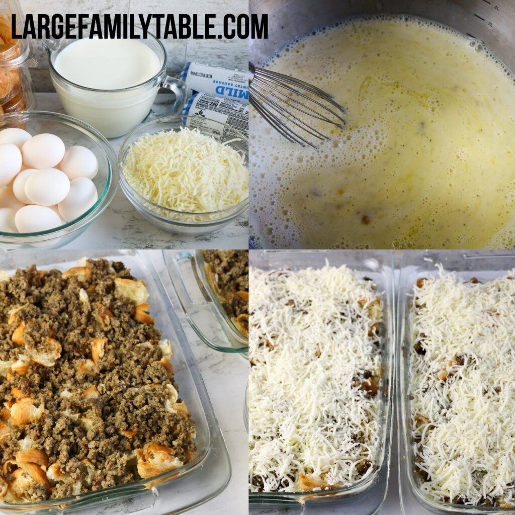 Large Family Cheesy Sausage and Croissant Casserole   Make-Ahead and Freezable Big Family Breakfast
