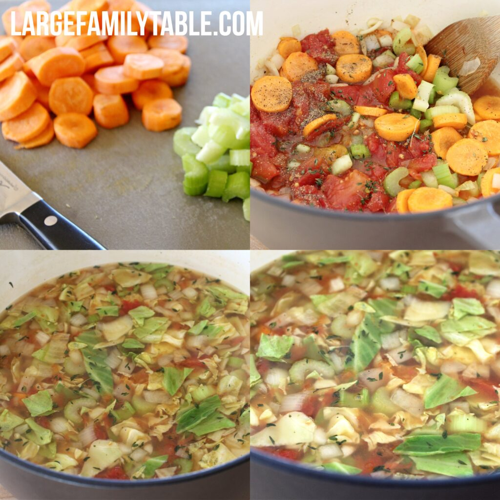 Large Family Easy Stovetop Cabbage Soup, Dairy Free