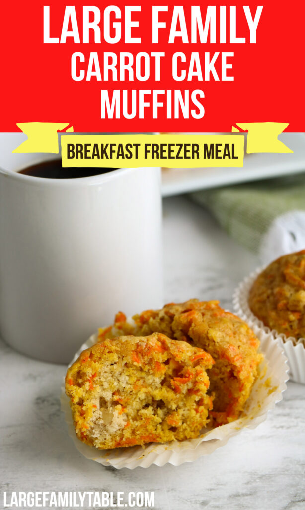 Large Family Freezable Carrot Cake Muffins | Make-Ahead Big Family Breakfast
