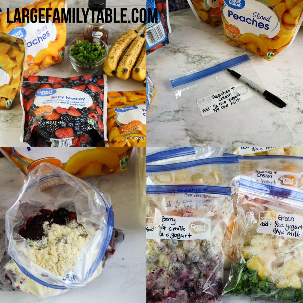 Large Family Make-Ahead Freezer Smoothie Packs | Big Family Freezer Meals