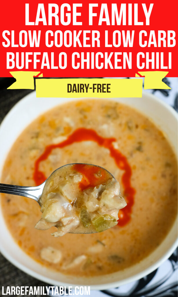 Large Family Slow Cooker Low Carb Buffalo Chicken Chili | Dairy-Free, THM-S, Keto-Friendly!
