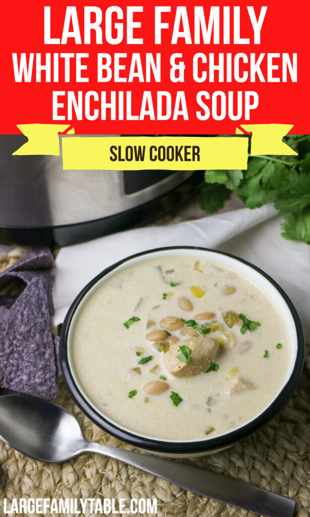 Large Family Slow Cooker White Bean and Chicken Enchilada Soup