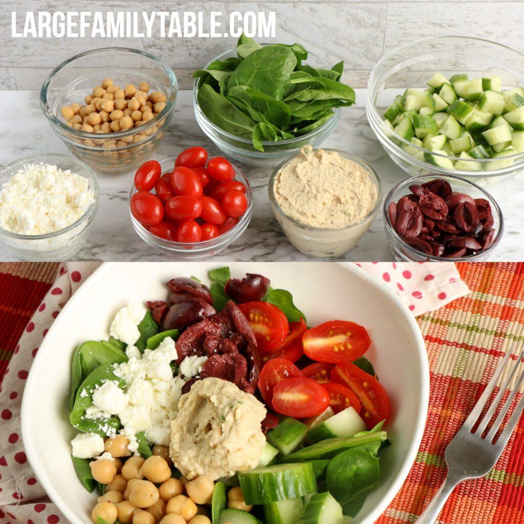 Large Family Loaded Greek Hummus Bowl | Dairy-Free Option
