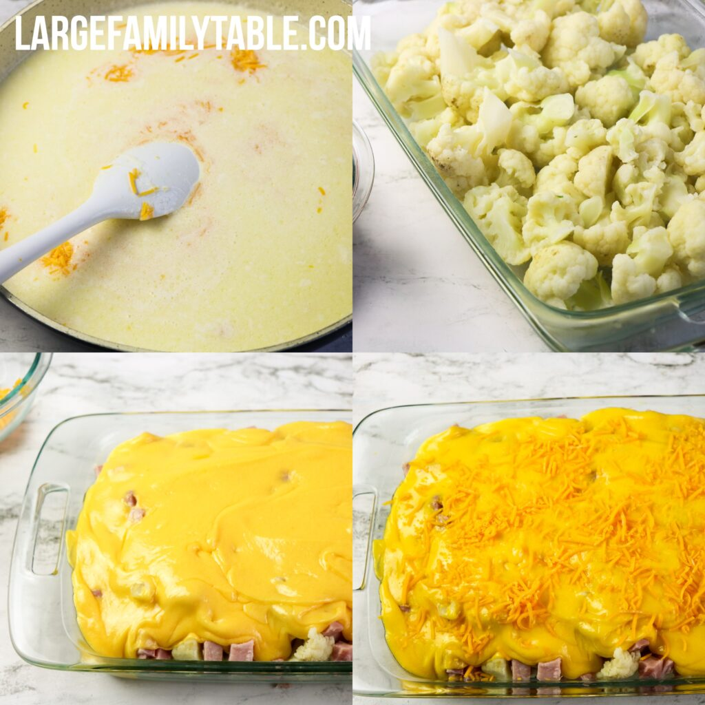 Large Family Low Carb Cheesy Ham and Cauliflower Casserole | Keto, THM S