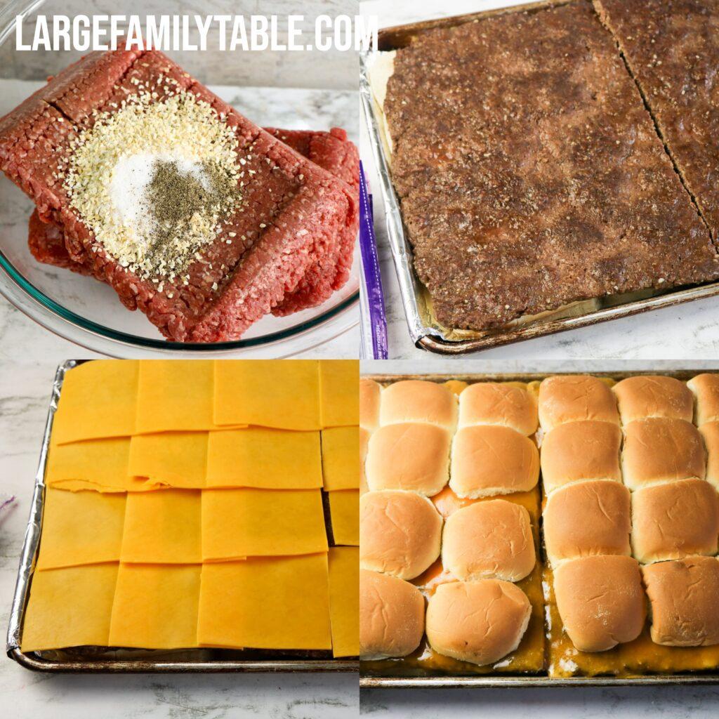 Large Family Easy Sheet Pan Cheeseburger Sliders | Dairy-free Option