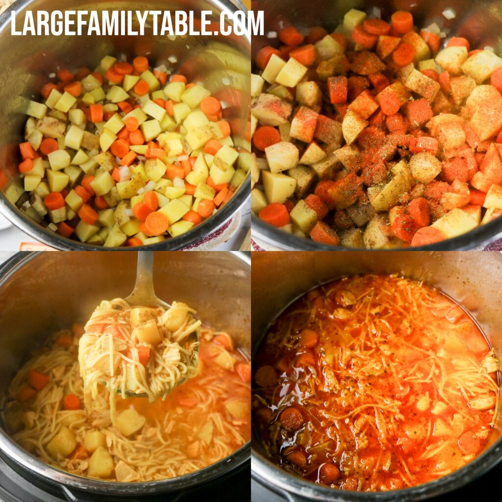 Large Family Instant Pot Spiced Chicken Noodle Soup, Dairy-free