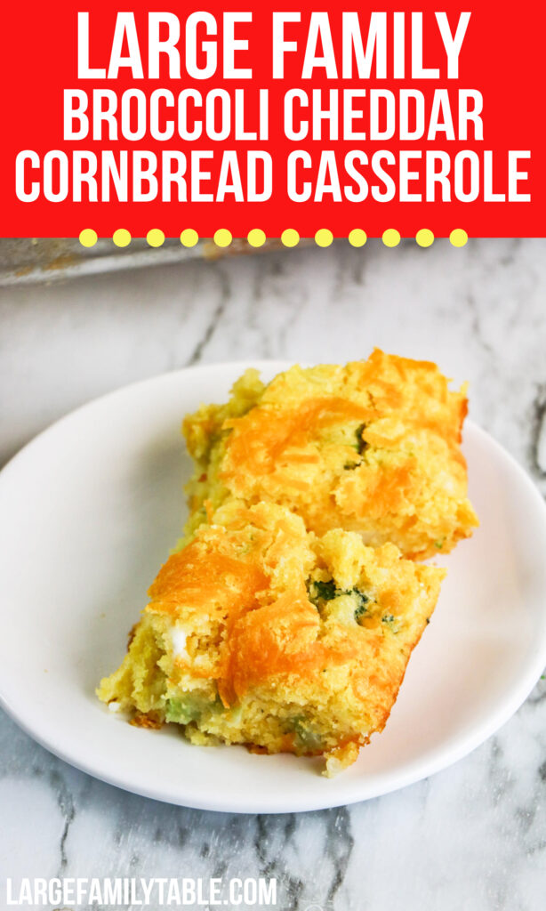 Large Family Broccoli Cheddar Cornbread Casserole