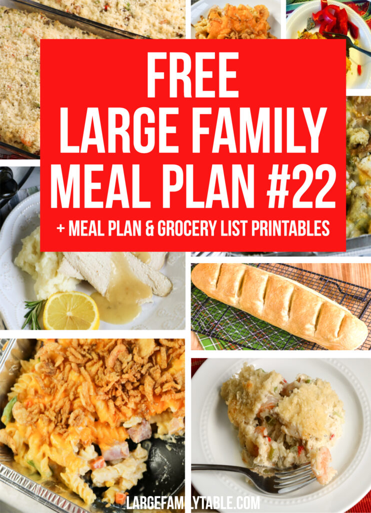 Week 22 Large Family Meal Plan + FREE Grocery List Printables for a Large Family on a Budget
