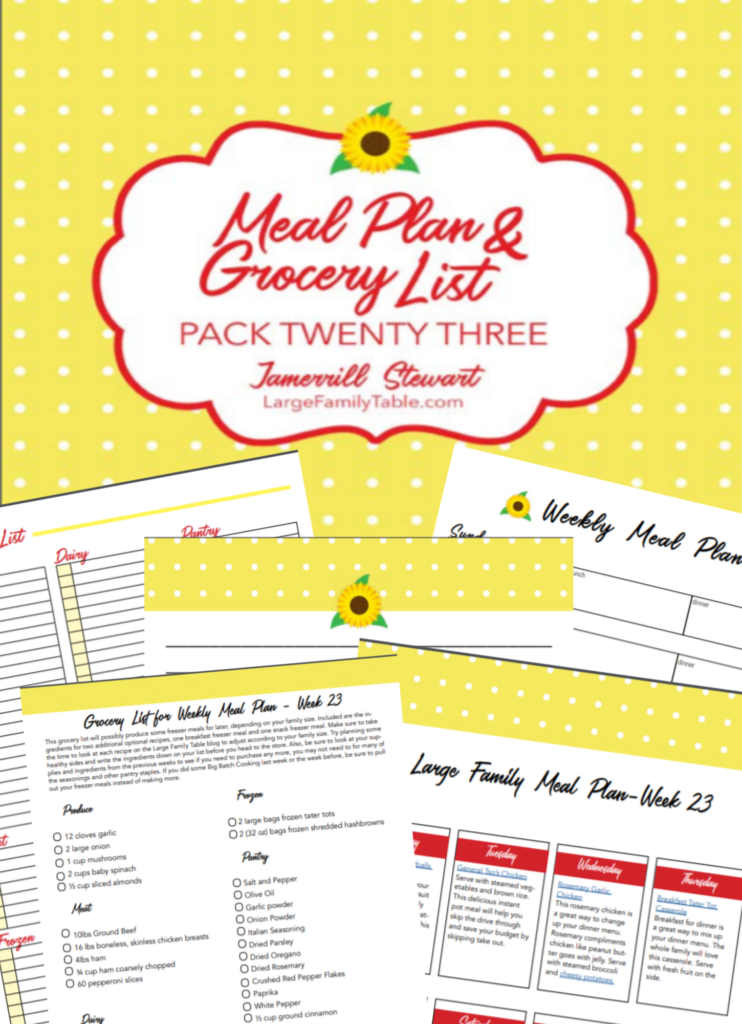 Week 23 Meal Plan for Large Families on Budgets + FREE Grocery List & Clickable Planning Pack