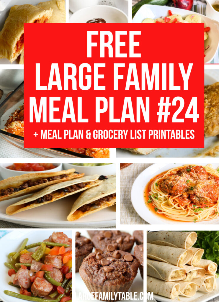 Large Family Budget Meal Plan Week 24 + FREE Printable Grocery List and Planning Pack