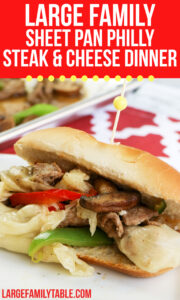 Large Family Sheet Pan Philly Steak and Cheese Dinner