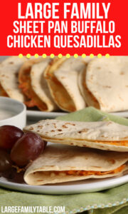 Sheet Pan Buffalo Chicken Quesadillas