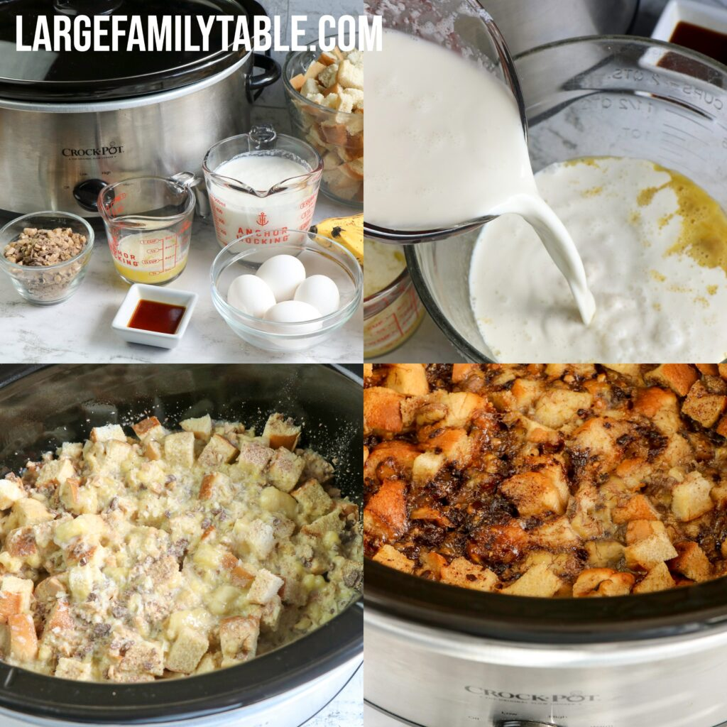 Large Family Slow Cooker Banana Heath Bread Pudding