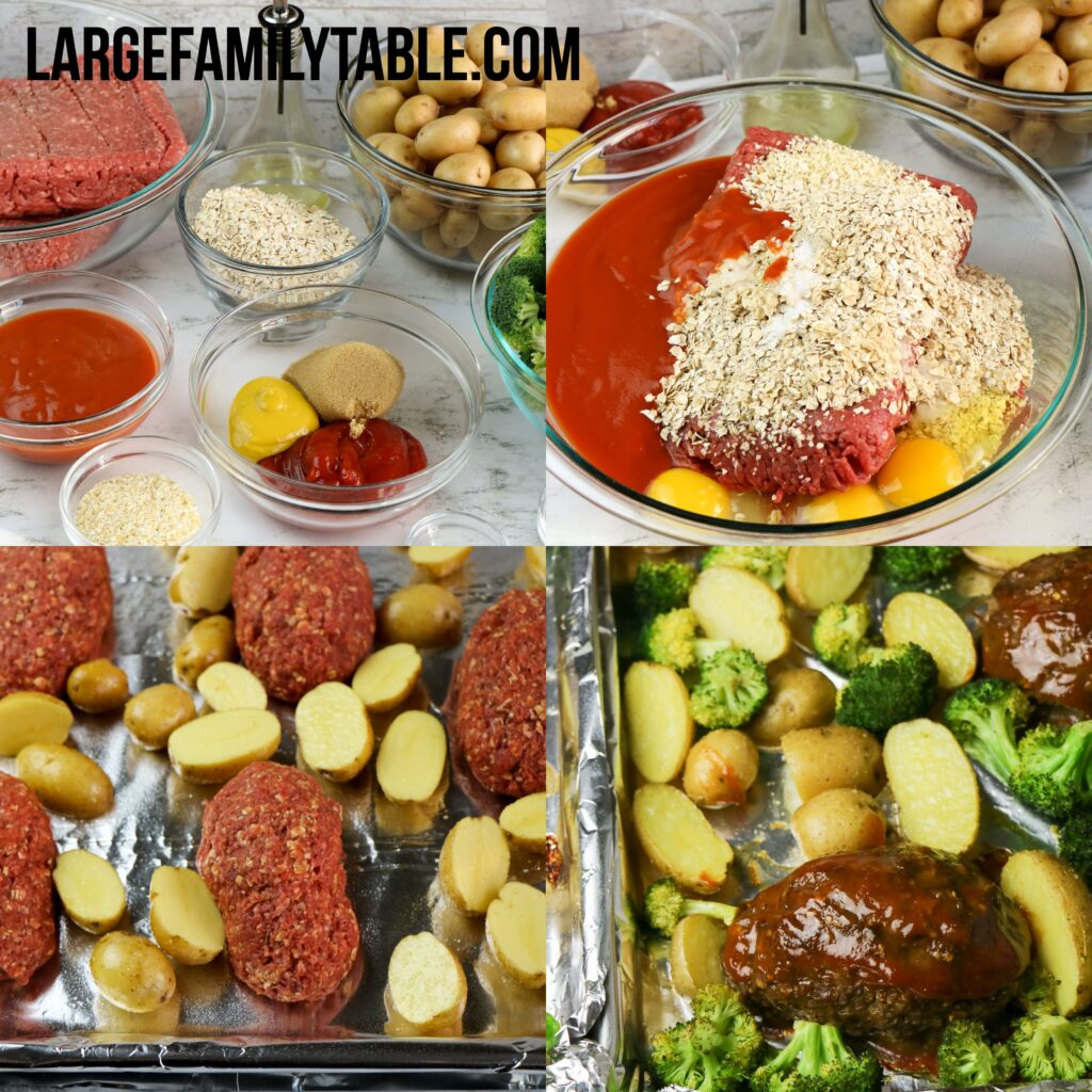 Large Family Meat Loaf, Potatoes, and Broccoli Sheet Pan Dinner