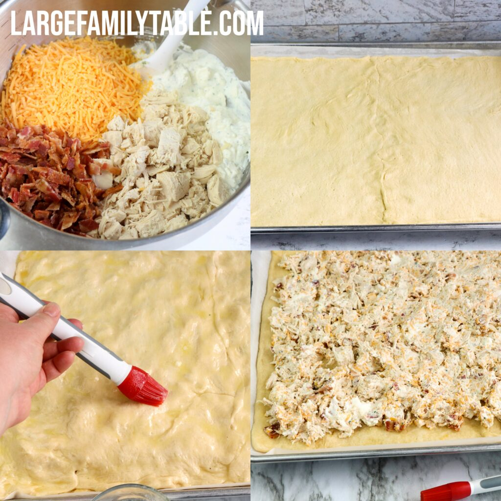 Large Family Sheet Pan Bacon Chicken Ranch Pie Squares Dinner