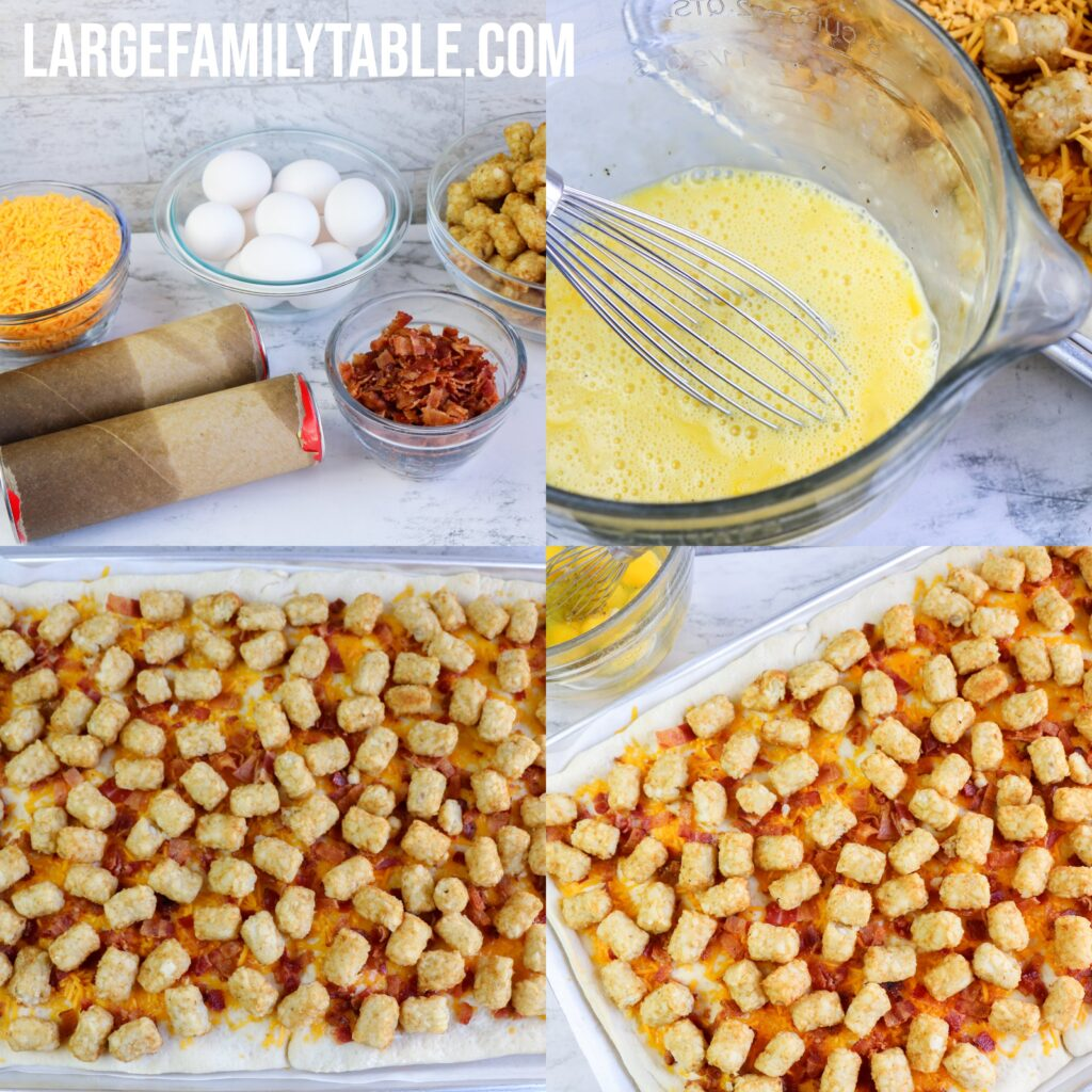 Large Family Sheet Pan Tater Tot, Egg, and Cheese Breakfast Pizza