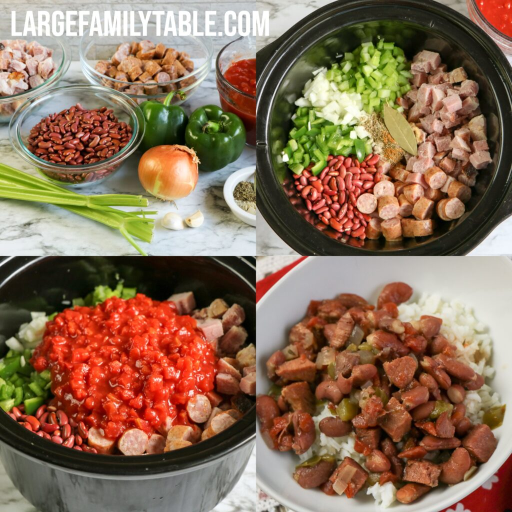 Large Family Slow Cooker Red Beans and Rice | Budget Meals for Big Families