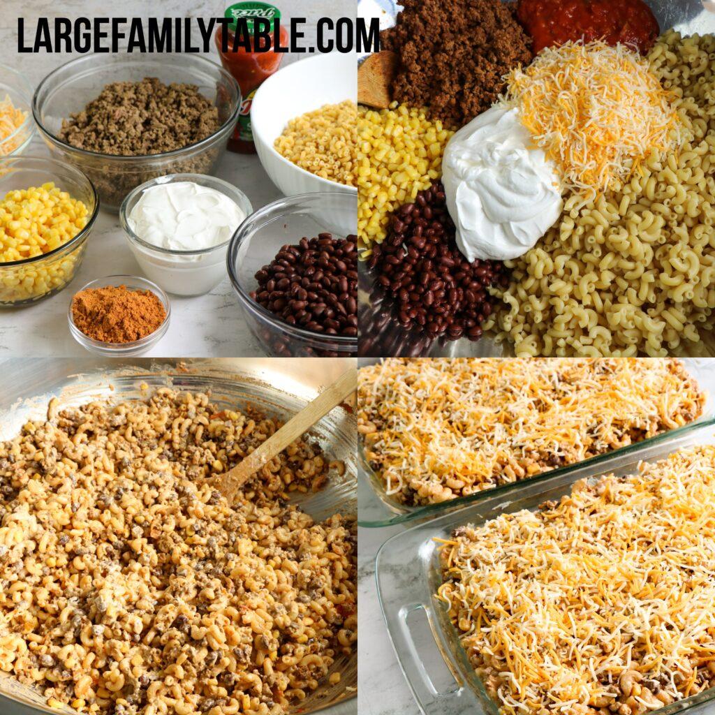 Large Family Taco Macaroni Casserole Freezer Meals