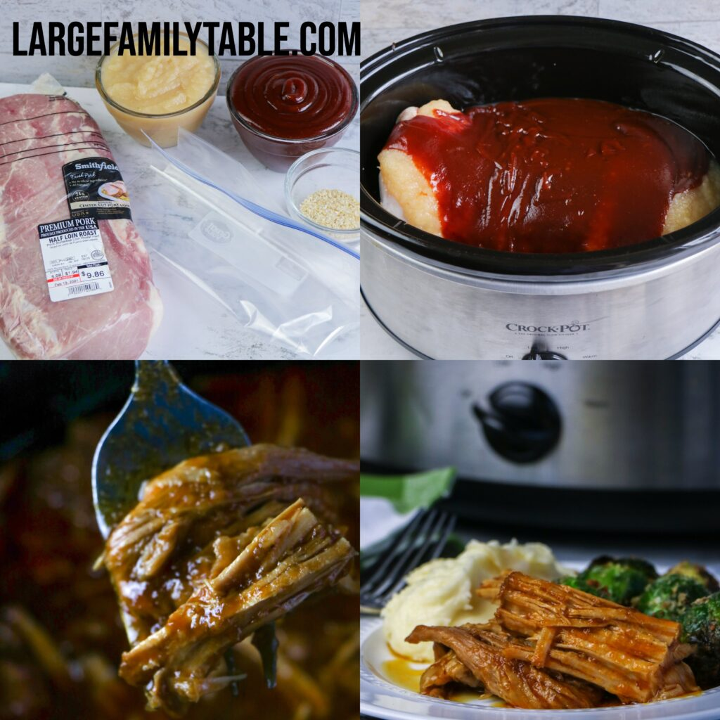 Large Family Apple Barbecue Pork Tenderloin | Slow Cooker Freezer Meal, Dairy-free