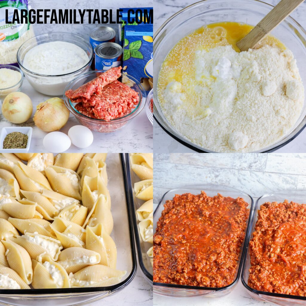 Large Family Cheese Stuffed Shells Oven Dinner   Easy Freezer Meal