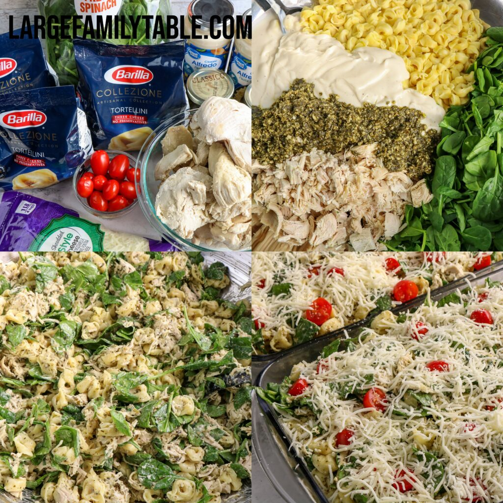 Large Family Chicken Pesto Tortellini Bake   Freezer Meals for Busy Mamas