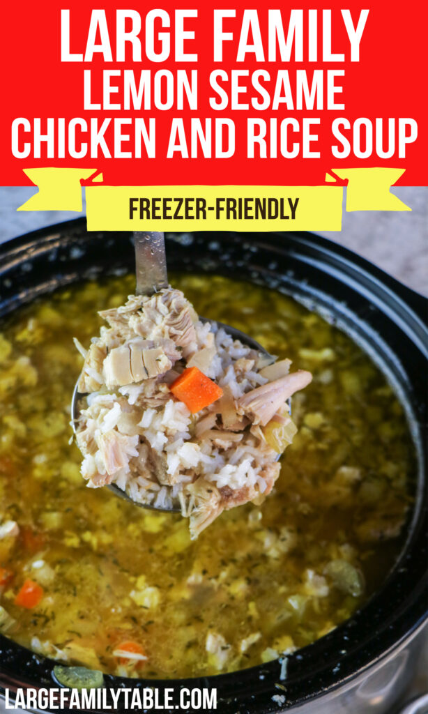 Large Family Slow Cooker Lemon Sesame Chicken and Rice Soup   Freezer-Friendly, Dairy-Free