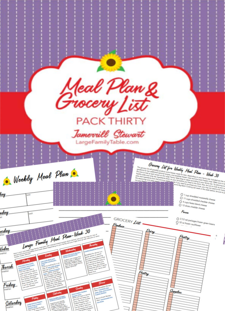 Budget-Saving Large Family Weekly Meal Plan #30+ FREE Printable Grocery List and Clickable Planning Pack