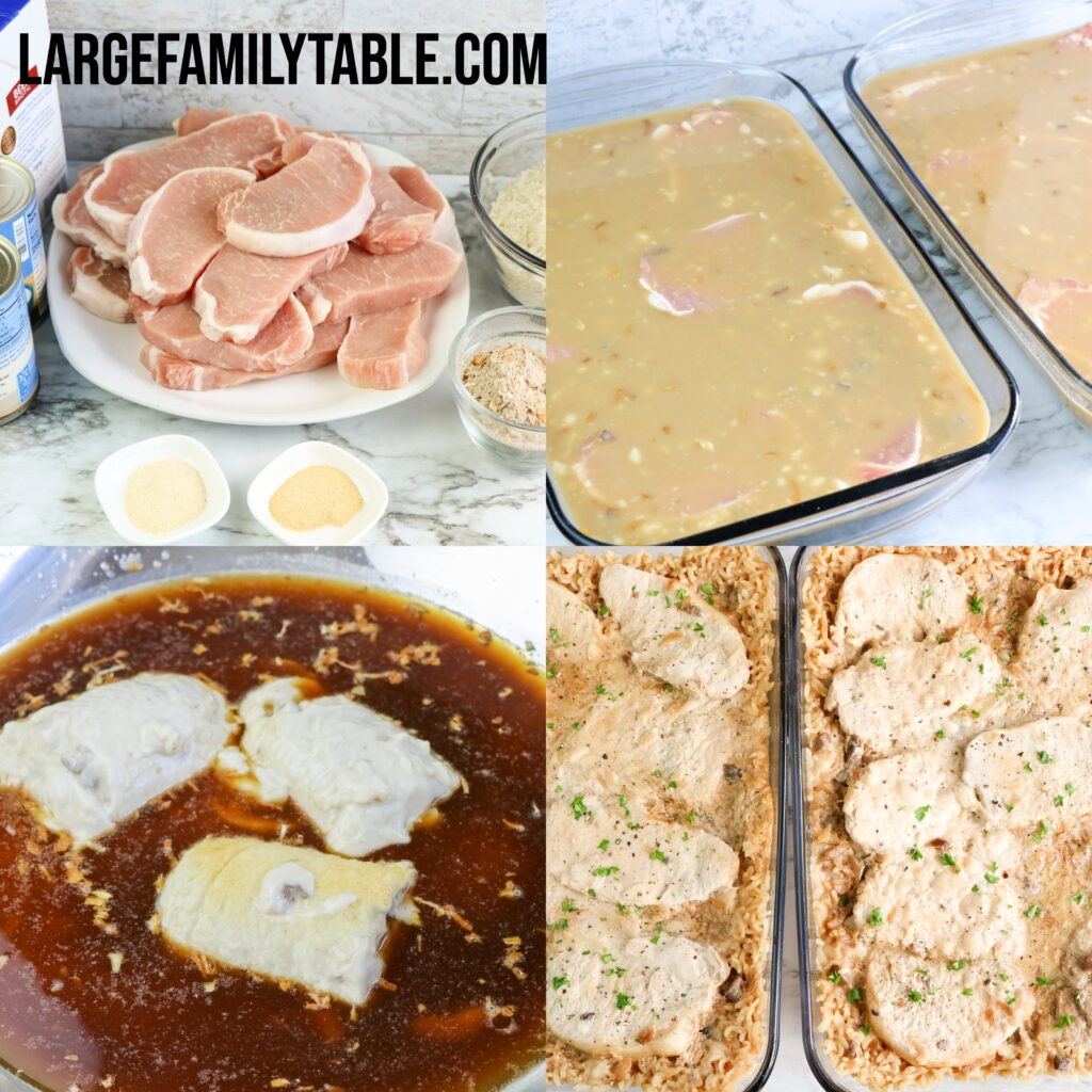 Large Family Freezer-Friendly Pork Chops and Rice Casserole