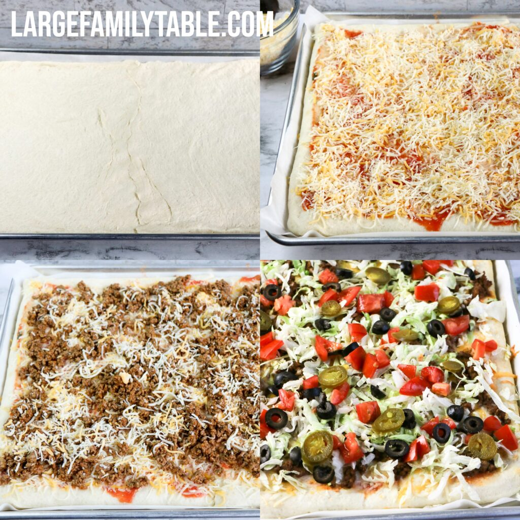 Large Family Sheet Pan Taco Pizza + TONS of TACO RECIPE IDEAS for Big Families