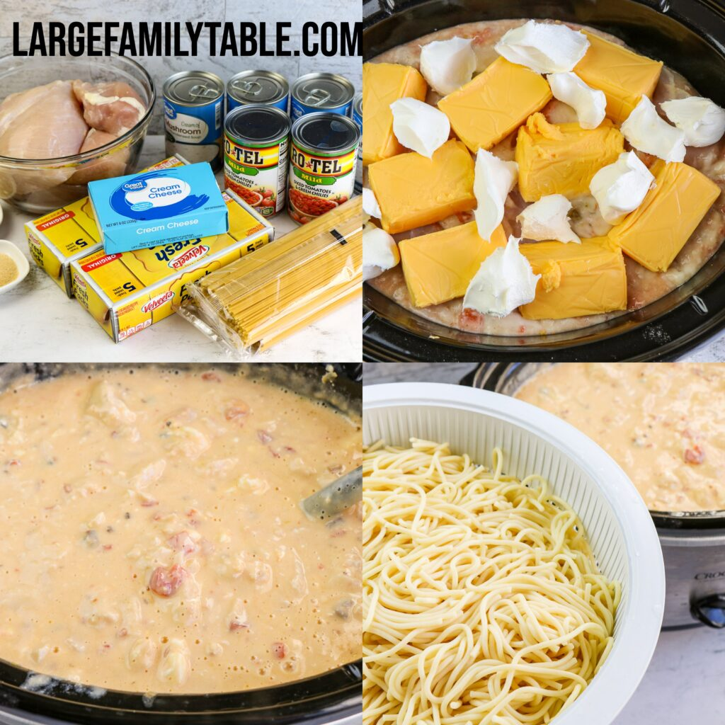 Large Family Slow Cooker Chicken Spaghetti Freezer Meal