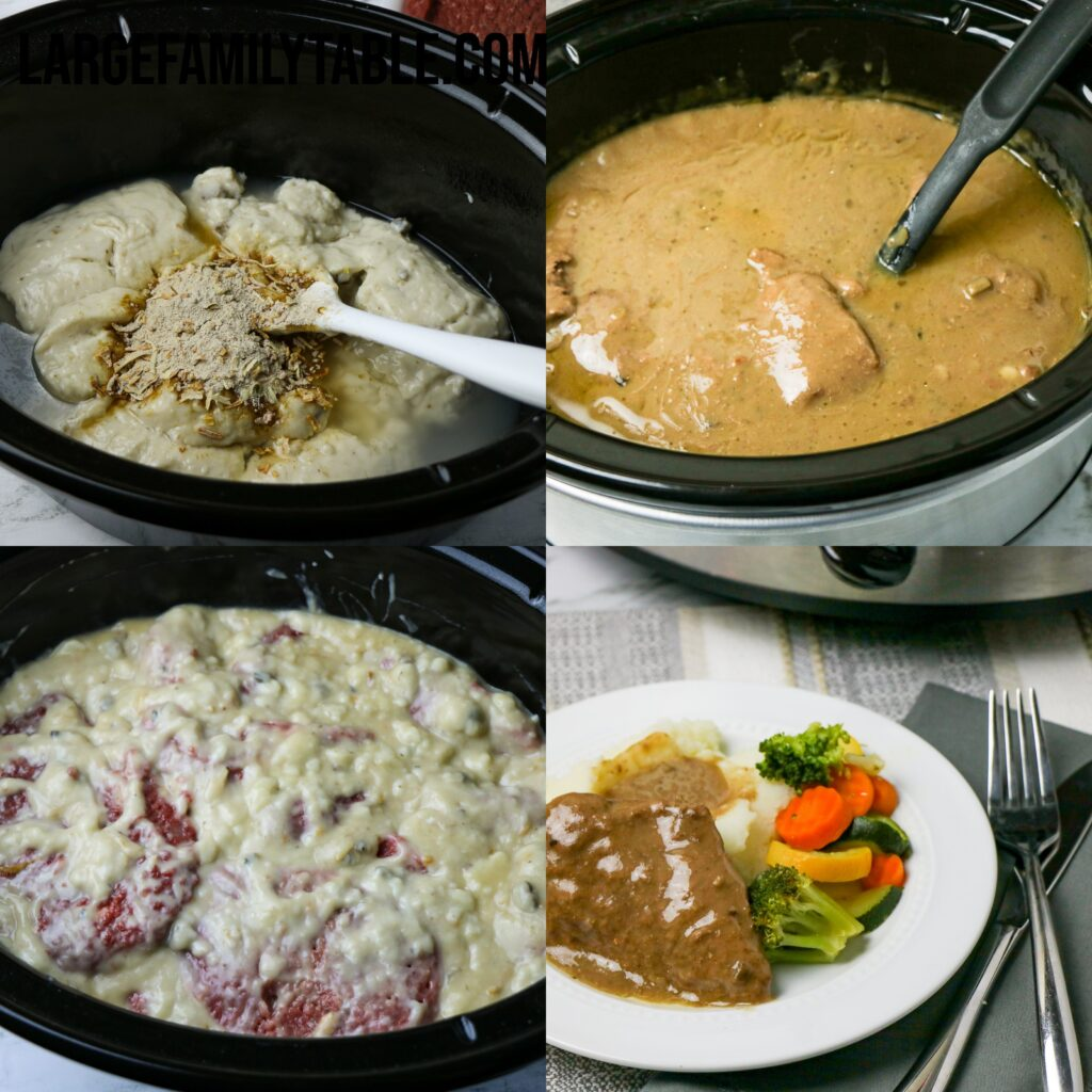 Large Family Slow Cooker Cubed Steak and Gravy | Easy Freezer Meal