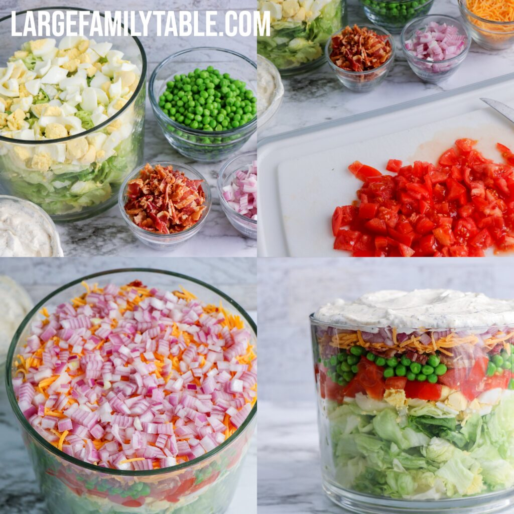 Large Family Ultimate Layered Spring Salad | Big Family Lunch Ideas, THM-S, Keto