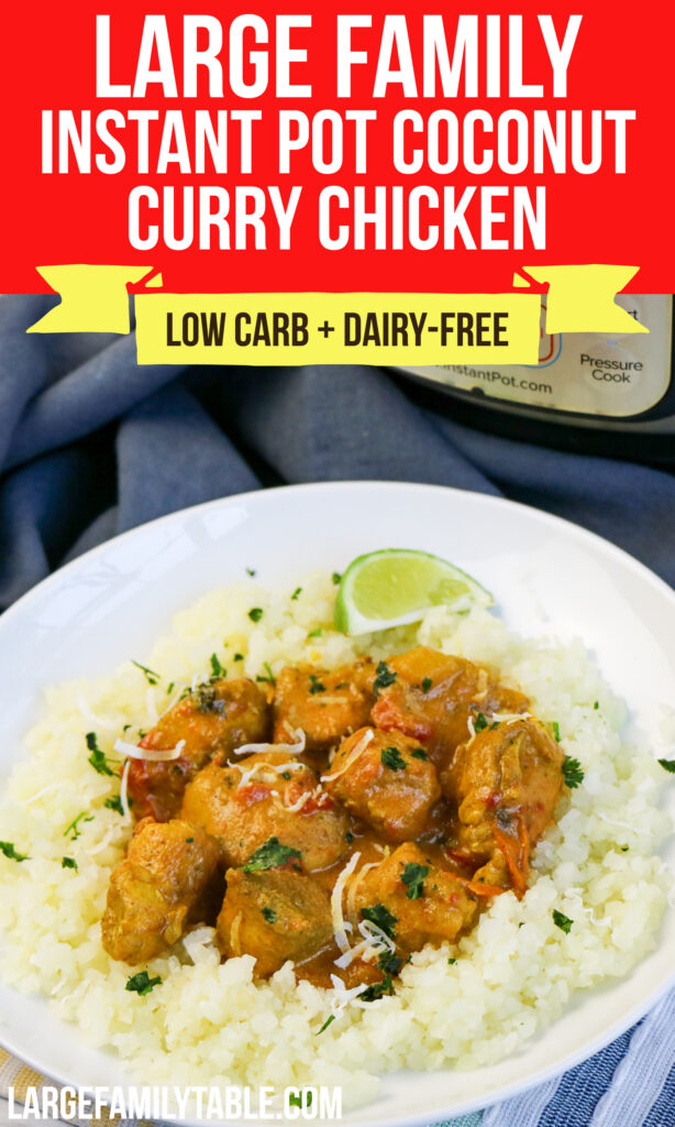 Large Family Instant Pot Low Carb Coconut Curry Chicken
