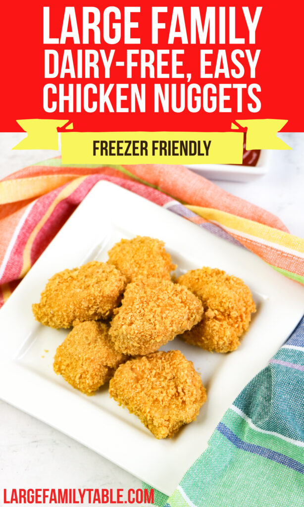 Large Family Simple Homemade Chicken Nuggets | Make-Ahead Lunch, Dairy-Free, Freezer Meals