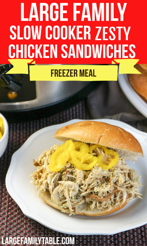 Large Family Slow Cooker Zesty Chicken Sandwiches   Crock Pot Freezer Meals! Dairy-Free