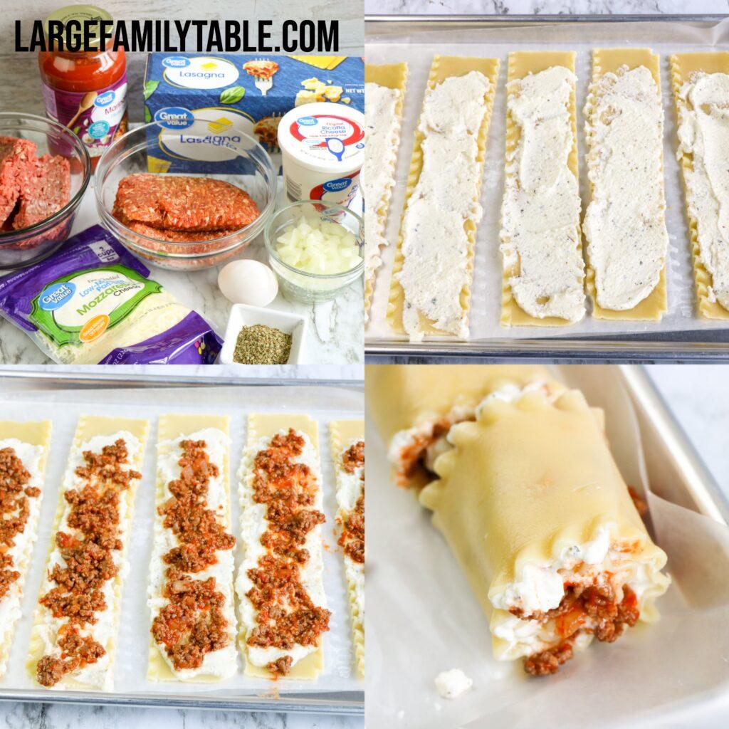 Large Family Lasagna Roll-Ups   Freezer Meal Recipe