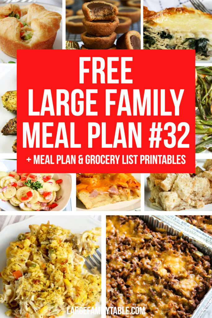 Simple Meal Plan #32 for a Large Family + Free Clickable Planning Pack and Grocery List