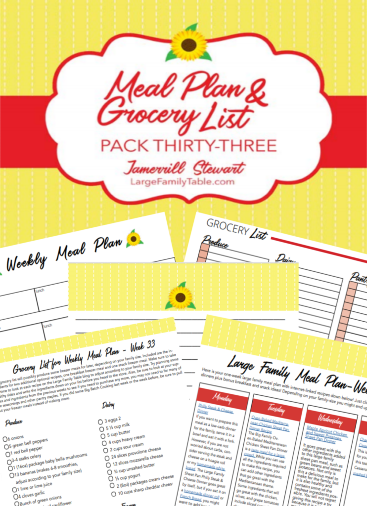 Weekly Large Family Meal Plan #33 + FREE Clickable Planning Pack and Grocery List
