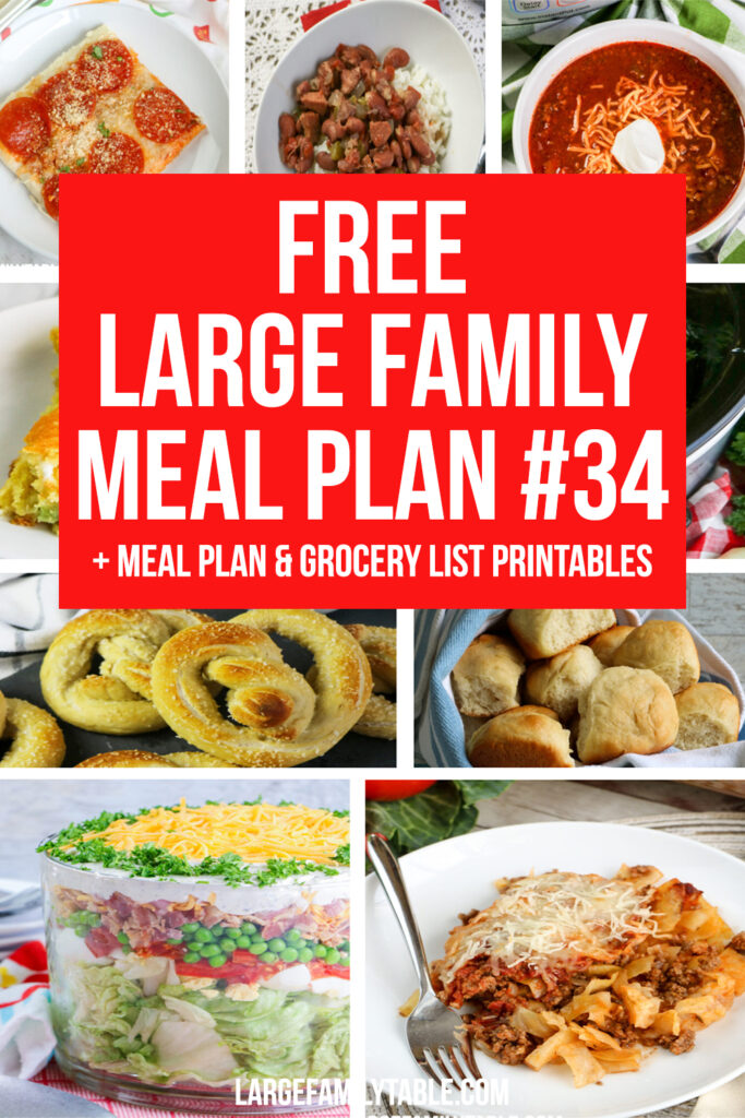 Large Family Budget Meal Plan #34 + FREE Printable Grocery List and Meal Planning Pages