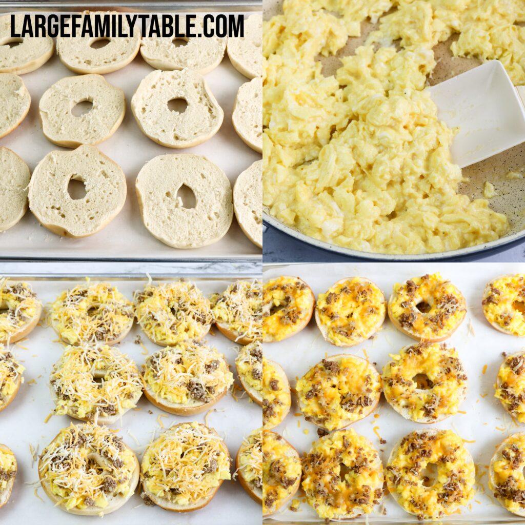 Big Family Sausage & Egg Bagel Pizza | Make-Ahead, Freezer-Friendly